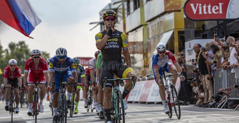 阶段优胜者-环法自行车赛2018年 库存照片