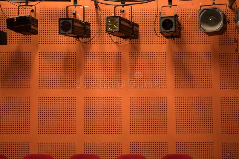 阶段反射器在剧院 库存图片