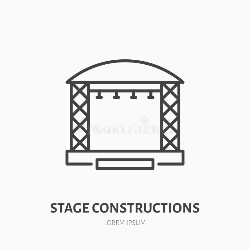 阶段建筑平的线象 场面,事件设备租用标志 变薄音乐会的,音乐节线性商标 库存例证