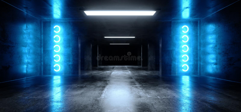 阶段演播室霓虹激光蓝色发光的科学幻想小说现代黑暗的具体水泥沥青未来派太空飞船地下车库隧道 库存例证