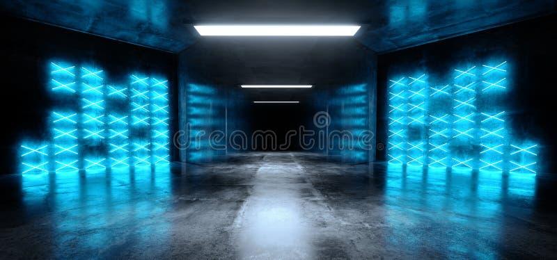 阶段演播室霓虹激光蓝色发光的科学幻想小说现代黑暗的具体水泥沥青未来派太空飞船地下车库隧道 皇族释放例证