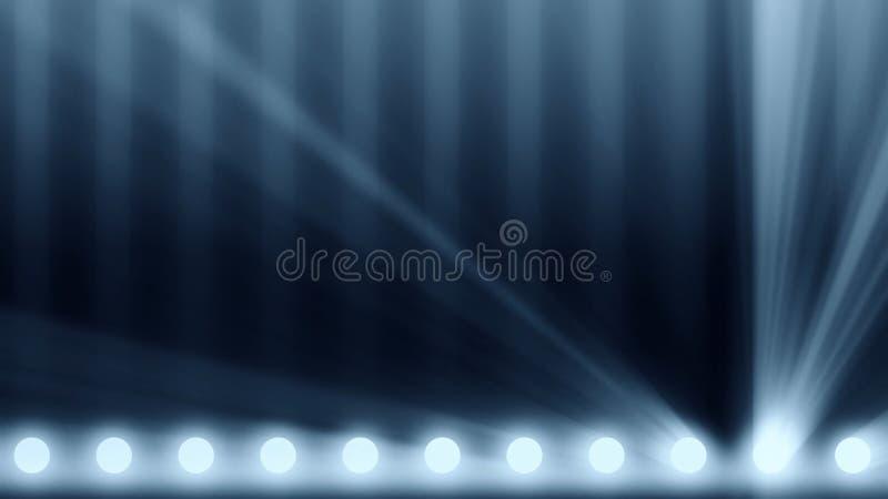 阶段的动画点燃框架 明亮的发光的阶段点燃在的闪动的运动娱乐聚光灯放映机 库存照片