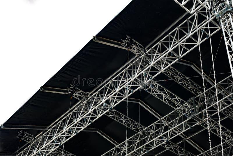 阶段音乐会或其他事件的金属索具 库存图片