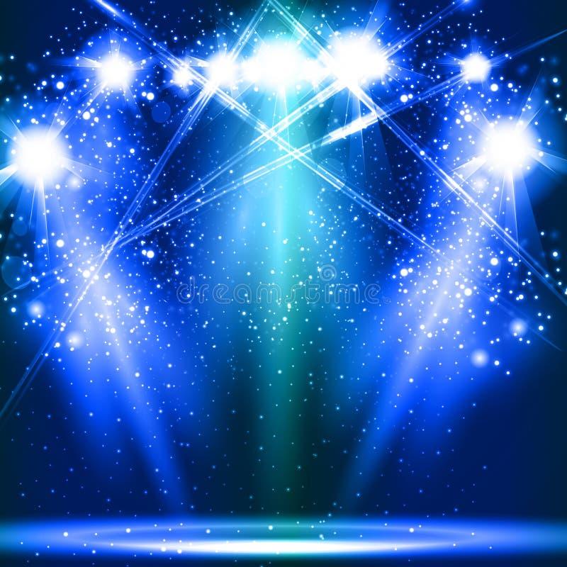 阶段,光,聚光灯,空的场面例证 库存例证