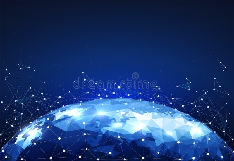 阻拦与点的全球网络在世界地图的连接和线 网络通信Wireframe  库存例证