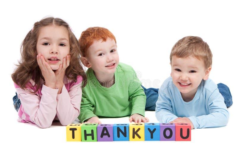 阻拦儿童愉快的孩子信函谢谢 免版税图库摄影
