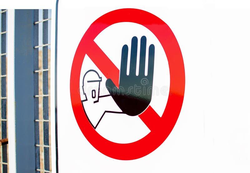 阻拦标志中止的手 免版税图库摄影