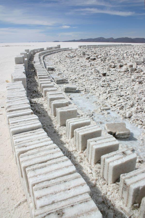 阻拦砖路盐uyuni 免版税库存照片