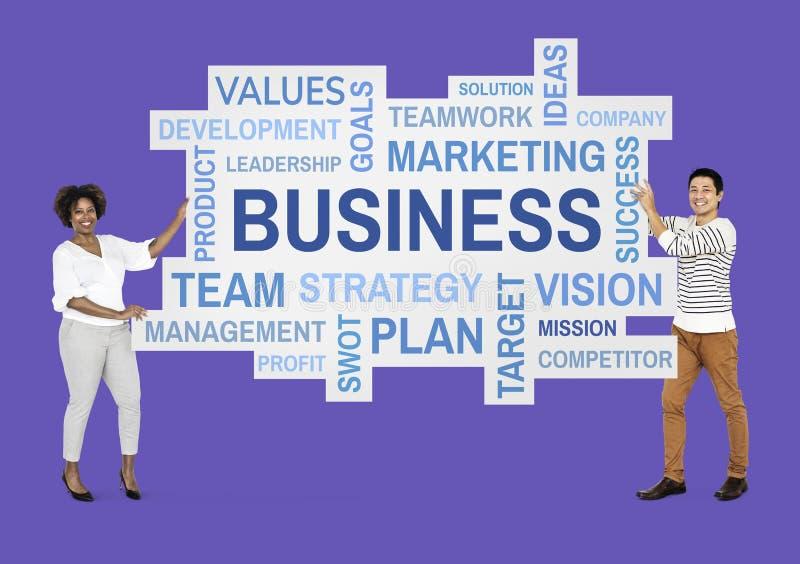 阻止企业词的伙伴 库存例证