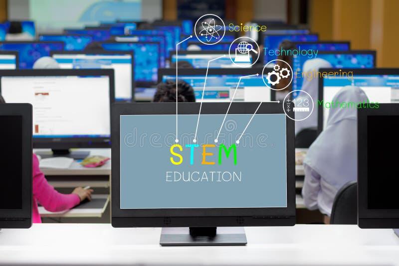 阻止教育概念,屏幕在屏幕上的显示文本有学习在计算机教室的学生的 免版税库存图片