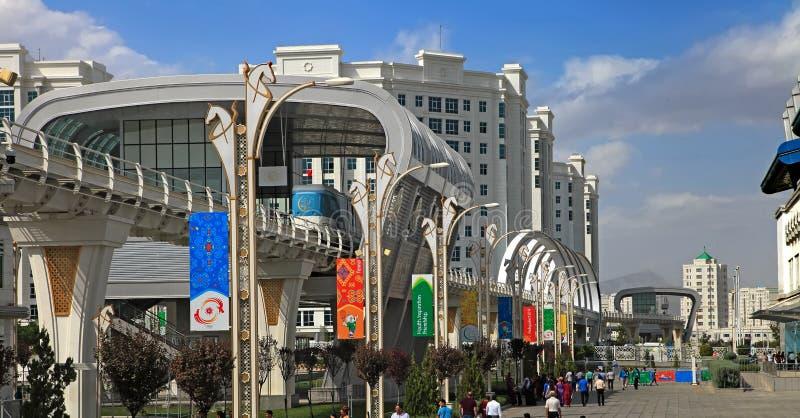 阿什伽巴特,土库曼斯坦, 2017年9月26日:现代建筑学 库存照片