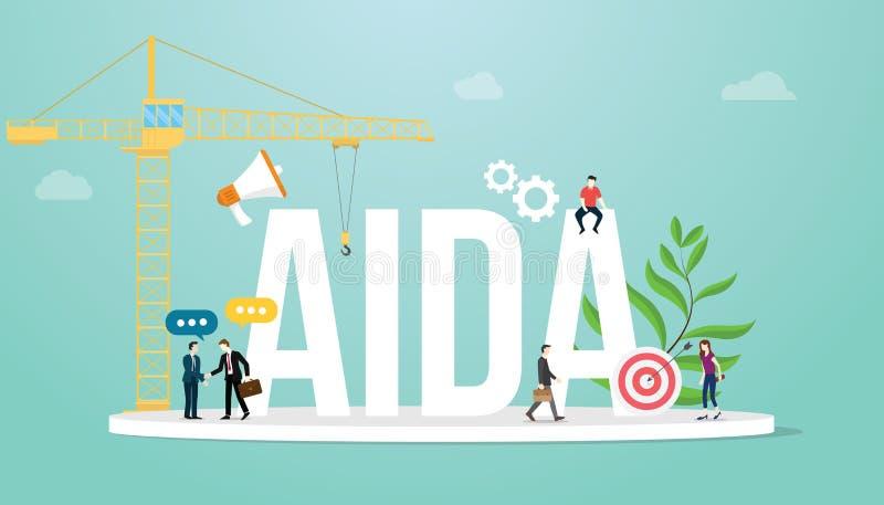 阿伊达注意兴趣欲望行动销售集中营销与队人和大词-传染媒介的企业概念 库存例证