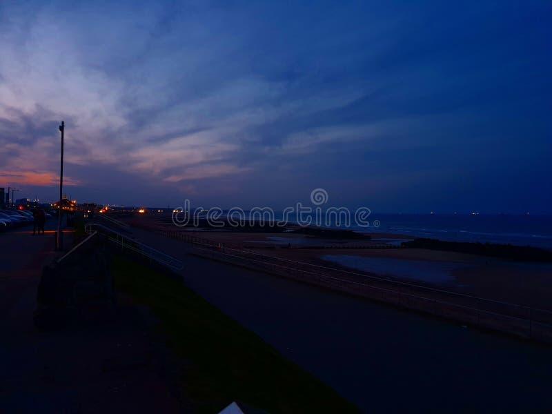 阿伯丁海滩在晚上 库存照片