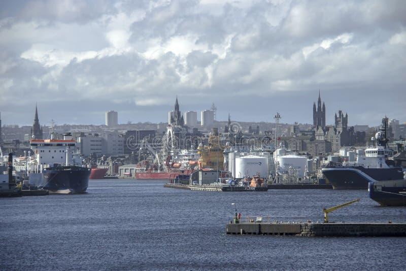 阿伯丁港口 苏格兰,在减速火箭的样式的UK.Photo 库存图片