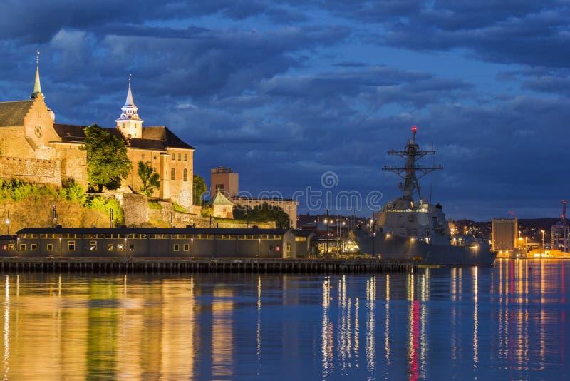 阿克什胡斯堡垒和城堡在奥斯陆,挪威 库存照片