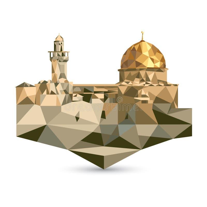 阿克萨清真寺和圆顶清真寺在耶路撒冷,以色列 多角形 皇族释放例证