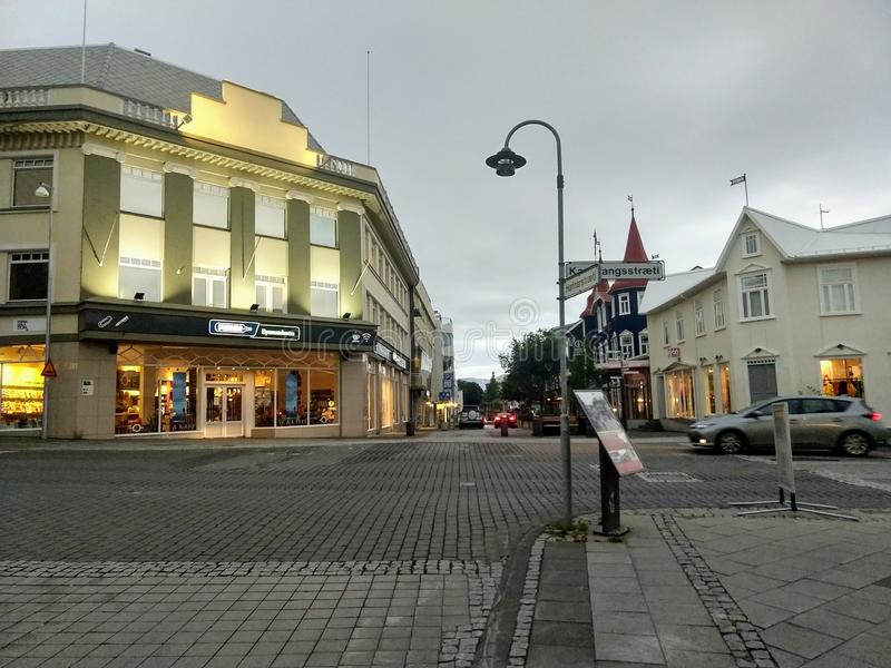 阿克雷里冰岛街道  免版税图库摄影