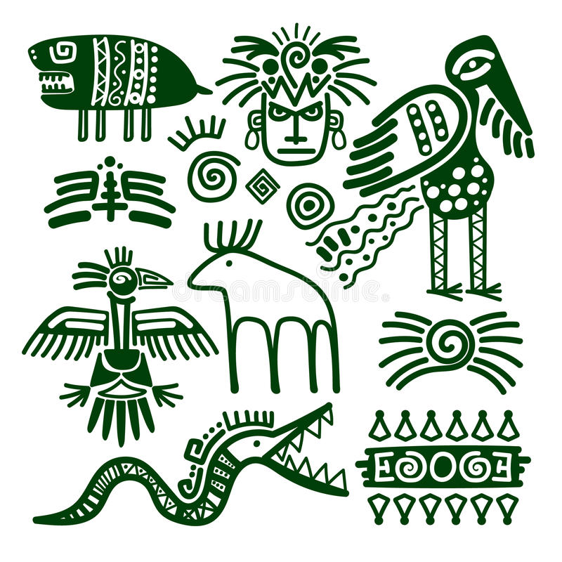阿兹台克人和印加人当地部族标志 向量例证
