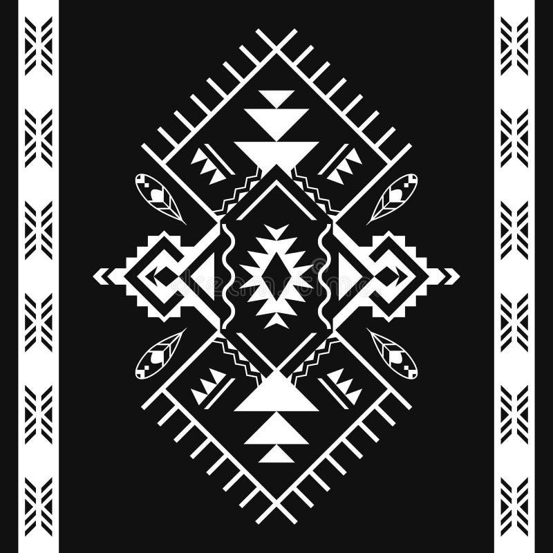 阿兹台克几何无缝的样式 部族黑白印刷品 库存例证