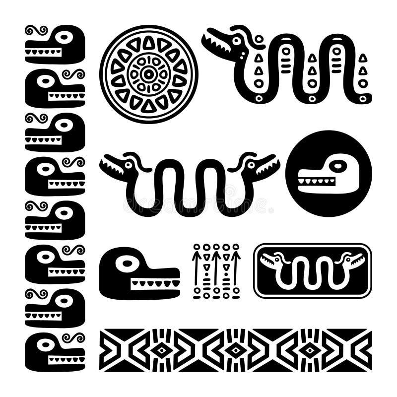 阿兹台克动物,玛雅蛇,古老墨西哥设计集合 皇族释放例证