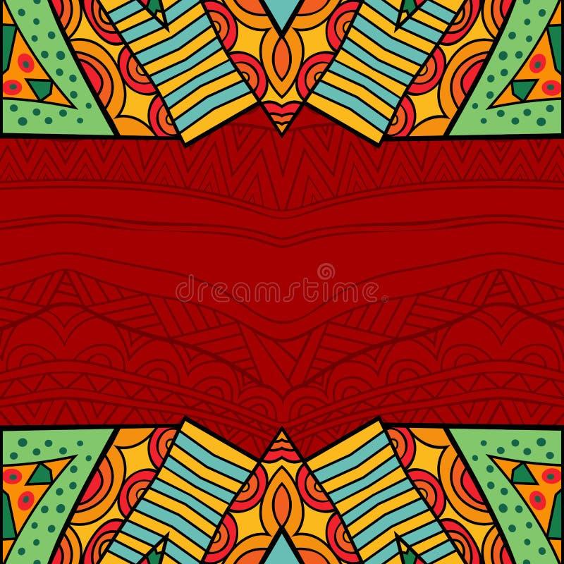 阿兹台克在明亮的颜色的样式部族华丽背景 皇族释放例证