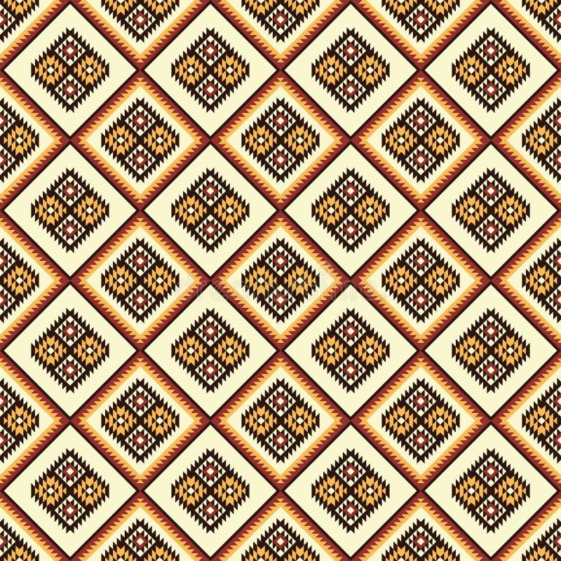 阿兹台克抽象几何艺术印刷品 无缝种族的模式 向量例证