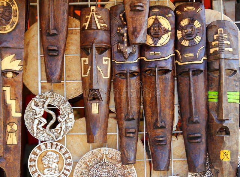 阿兹台克玛雅木印第安屏蔽手工造 库存照片
