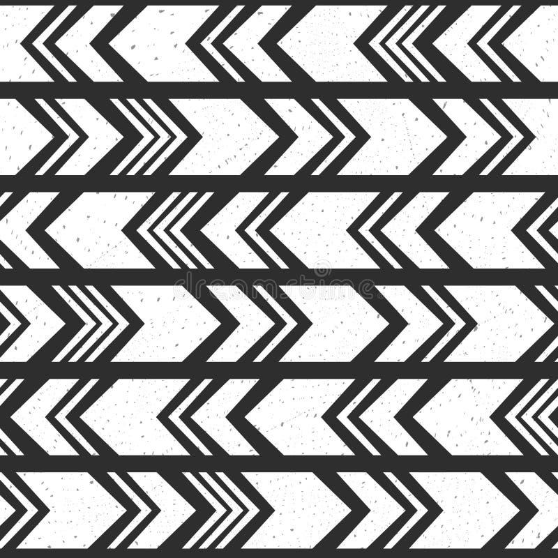 阿兹台克种族无缝的样式,部族黑白背景 向量例证