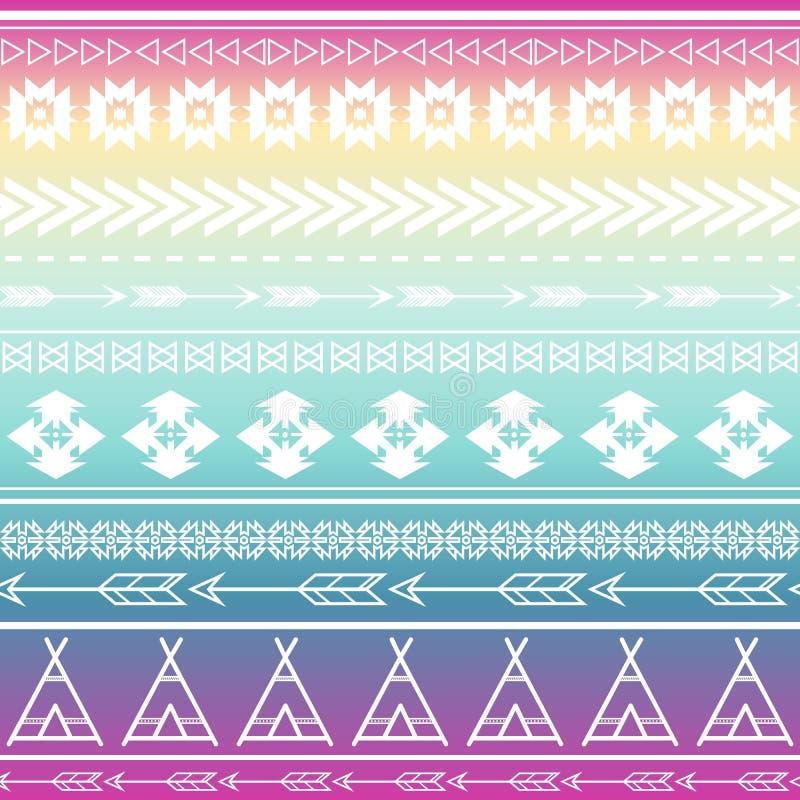 阿兹台克部族无缝的多色样式背景 部族设计可以是应用的为邀请,时尚织品 皇族释放例证