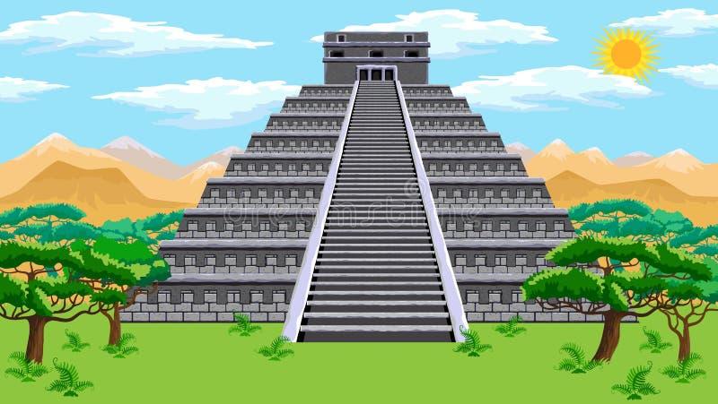 阿兹台克金字塔 向量例证
