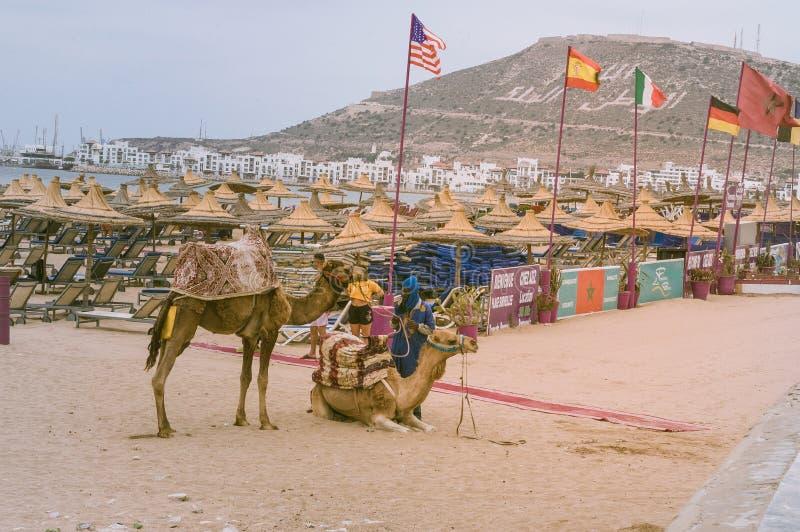 阿加迪尔市海滩在摩洛哥 库存图片