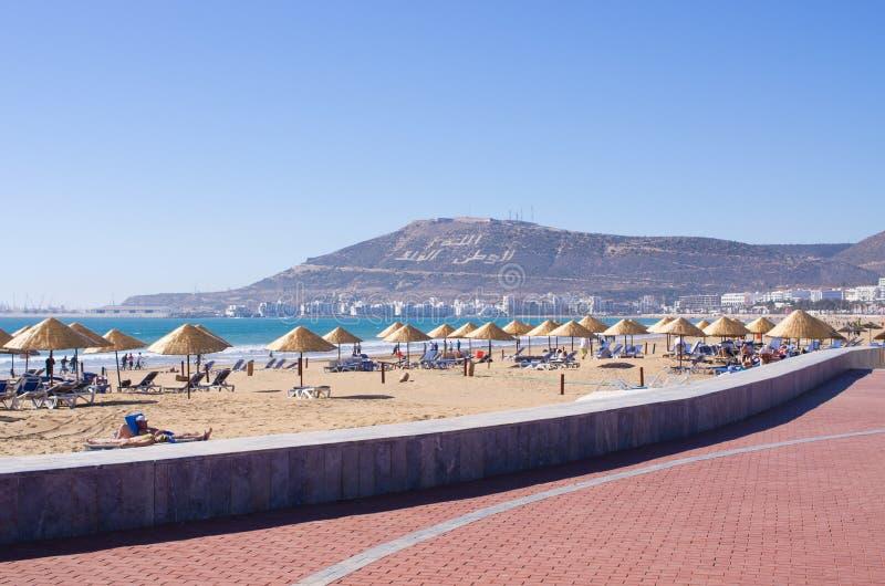 阿加迪尔市海滩在摩洛哥 免版税库存照片
