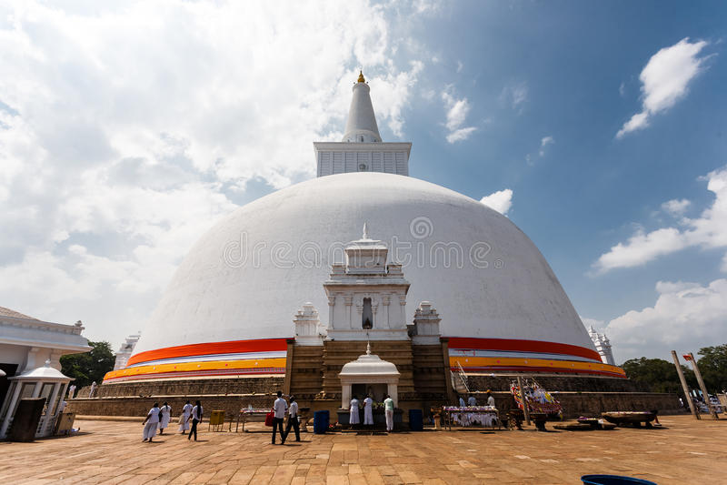 阿努拉德普勒,斯里兰卡,亚洲Ruwanwelisaya Stupa地标  免版税库存图片