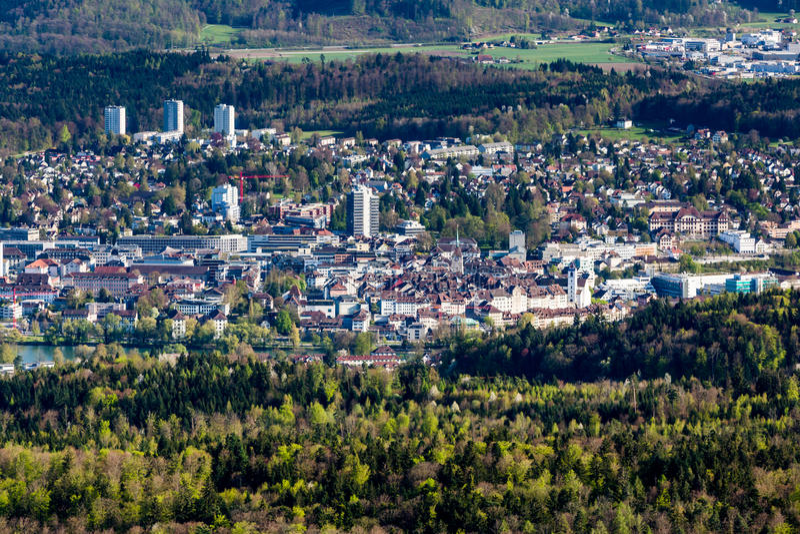 阿劳,瑞士都市风景视图  免版税图库摄影