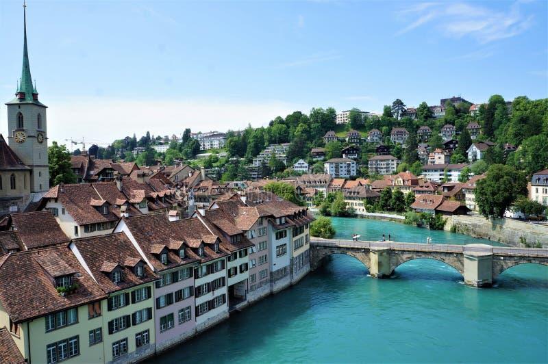 阿勒河河在伯尔尼,瑞士 库存照片
