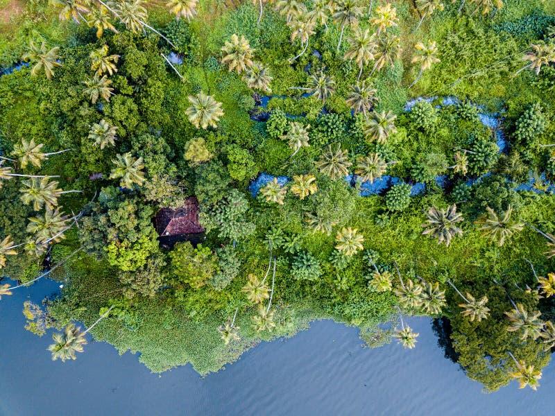 阿勒皮印度空中照片  图库摄影