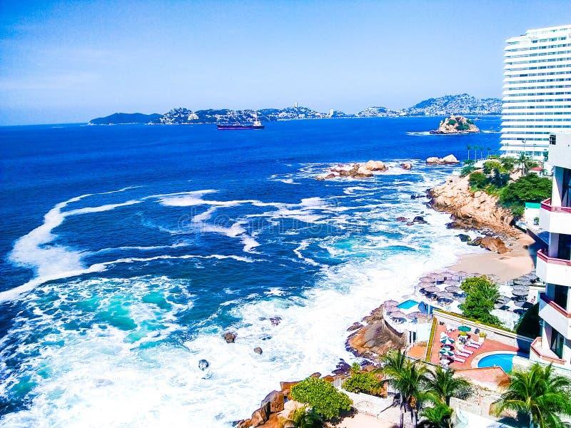 阿卡普尔科海滩 免版税库存图片