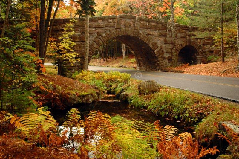 阿卡迪亚被成拱形的桥梁石头 免版税库存图片