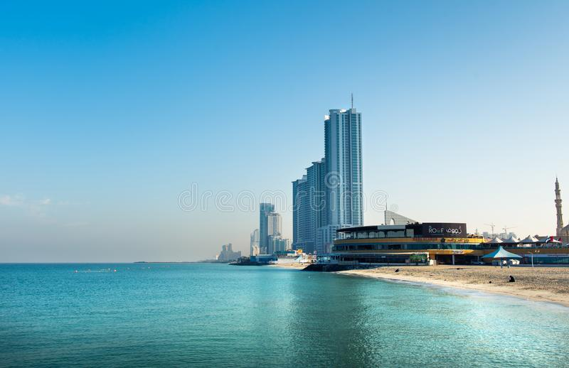 阿吉曼,阿拉伯联合酋长国- 2018年12月6日:阿吉曼Corniche B 免版税库存图片