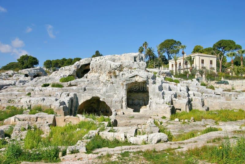 阿基米德坟茔在西勒鸠斯 免版税库存照片