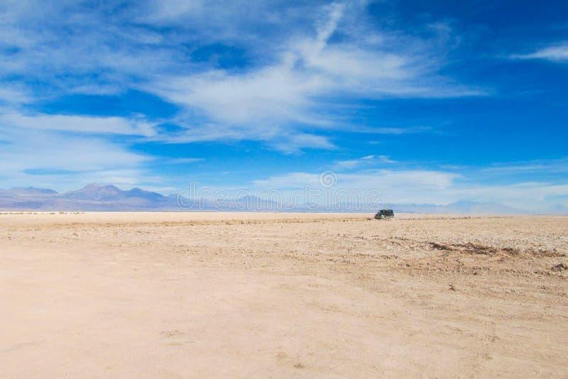 阿塔卡马沙漠干旱的平的风景 免版税库存照片