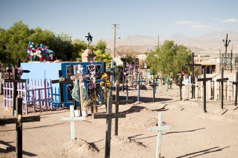 阿塔卡马沙漠的公墓 免版税库存照片