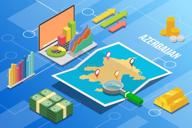 阿塞拜疆欧亚大陆等量企业经济成长国家以地图和财务情况-传染媒介例证 库存例证
