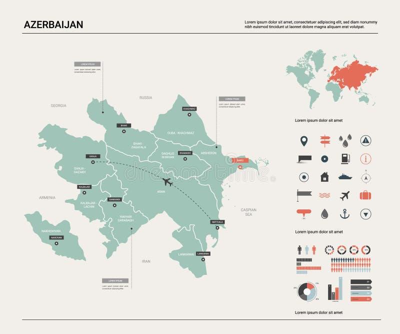 阿塞拜疆的传染媒介地图 与分裂、城市和首都巴库的高详细的国家地图 政治地图,世界地图, 向量例证
