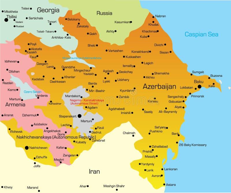 阿塞拜疆的映射 库存例证