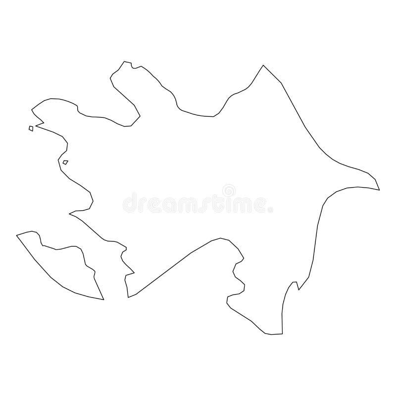 阿塞拜疆-国家区域坚实黑概述边界地图  简单的平的传染媒介例证 向量例证