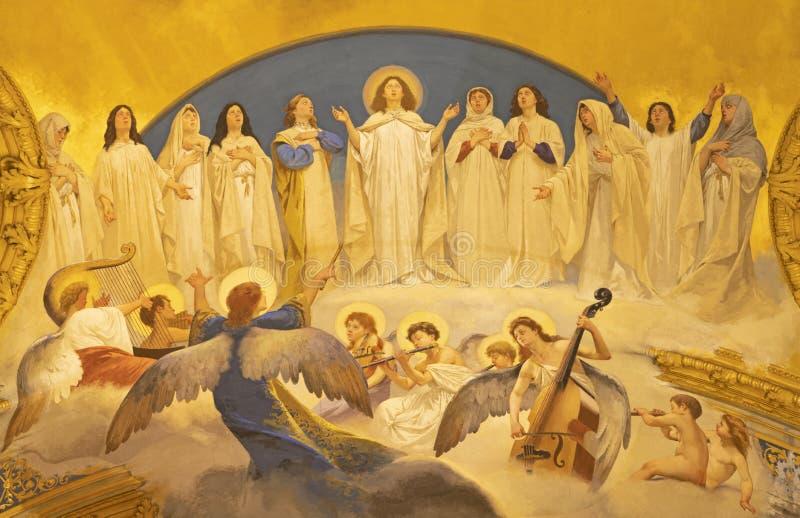 阿奇雷亚莱,意大利- 2018年4月11日:天使壁画唱诗班和贞女在中央寺院- cattedrale di玛丽亚佛罗伦萨圣母领报大殿 库存照片