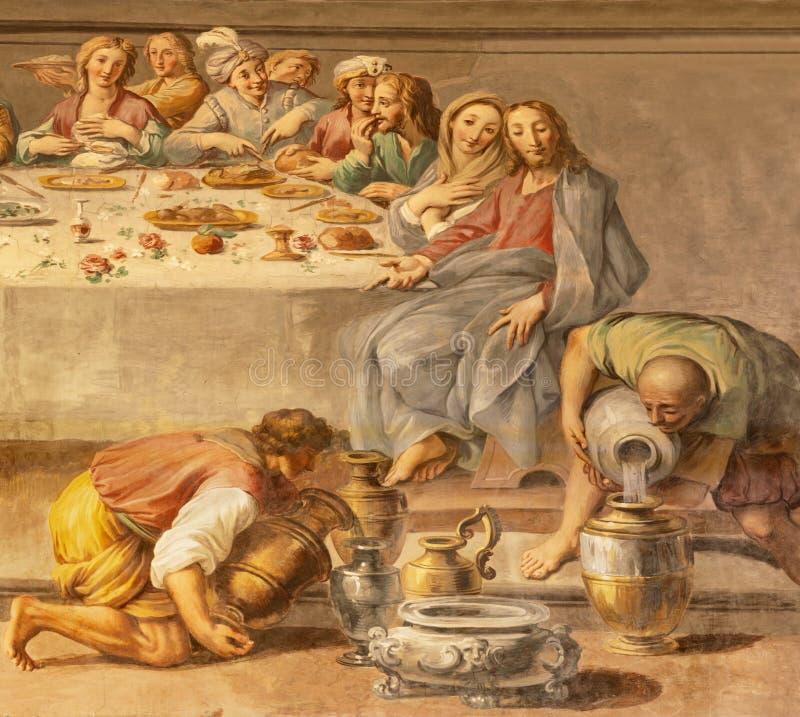 阿奇雷亚莱,意大利- 2018年4月11日:奇迹的壁画细节在婚礼的在卡纳在中央寺院彼得罗保罗Vasta 图库摄影
