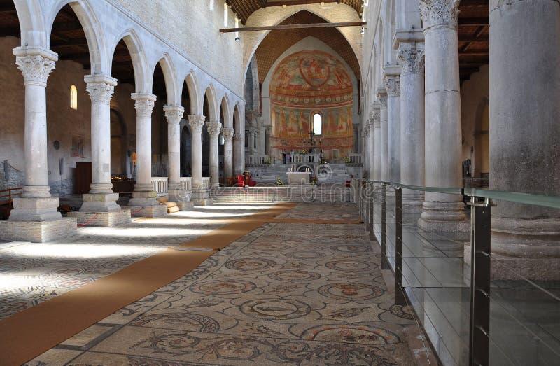 阿奎莱亚,意大利 大教堂和罗马马赛克 免版税图库摄影