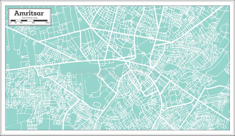 阿姆利则印度在减速火箭的样式的市地图 皇族释放例证